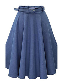 Women's Solid Blue Skirts,Casual / Day Midi