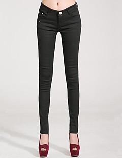 Kvinders Plusstørrelser / Hverdag Tætsiddende Bukser Mikroelastisk Polyester