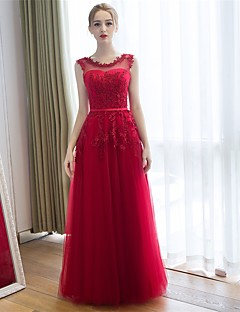 Floor-length Lace / Tulle Bridesmaid Dress Sheath / Column Scoop with Appliques
