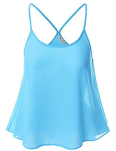 Women's Casual/Daily Sexy Summer Tanks,Solid Strap Sleeveless Blue / Red / Brown / Gray / Green / Yellow / Purple Polyester Thin