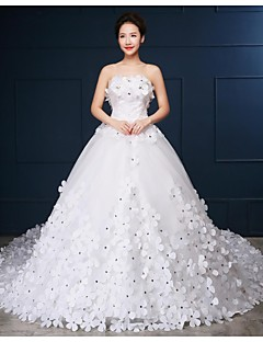 Ball Gown Wedding Dress Sparkle & Shine Chapel Train Strapless Tulle with Beading Flower