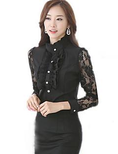 여성의 패치 워크 셔츠 카라 긴 소매 셔츠,섹시 / 빈티지 캐쥬얼/데일리 화이트 / 블랙 폴리에스테르 봄 중간