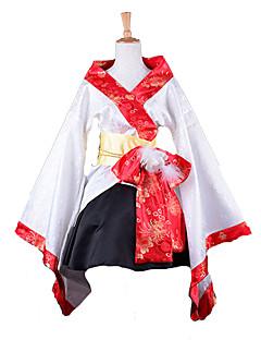 mode kimono stil långärmad knälång vit satin wa lolita kläder