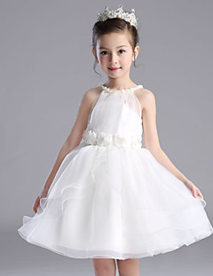 A-line Knee-length Flower Girl Dress - Cotton / Organza / Satin Sleeveless Halter with