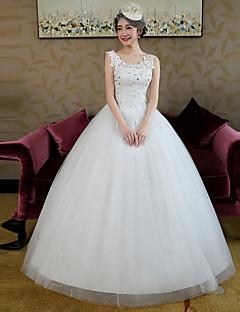 볼 드레스 웨딩 드레스 바닥 길이 스트랩 레이스 / 새틴 / 튤 와 비즈 / 레이스