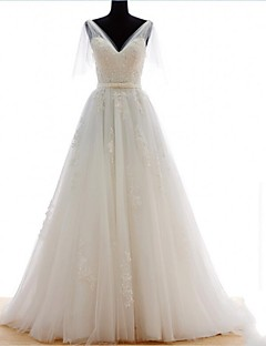 A-line Wedding Dress Sweep / Brush Train V-neck Tulle with Appliques