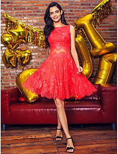 TS couture® 칵테일 파티 / 기업 파티 드레스 플러스 사이즈 / 창틀 / 리본 줄 BATEAU 무릎 길이 레이스 몸집이 작은