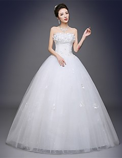 Ball Gown Wedding Dress Floor-length Strapless Satin / Tulle with Appliques