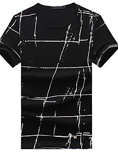 Men's Plaids Casual / Sport / Plus Sizes T-Shirt,Cotton Short Sleeve-Black / White