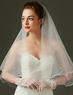 Wedding Veil One-tier Elbow Veils Scalloped Edge
