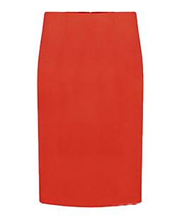 伸縮性のある女性の固体膝丈スカート、ローマンニット