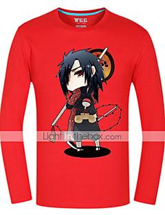 Inspirado por Naruto Sasuke Uchiha Animé Disfraces de cosplay Tops Bottoms Cosplay Estampado Rojo Manga Larga Top