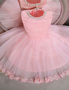 Ball Gown Knee-length Flower Girl Dress - Lace / Tulle Sleeveless Jewel with