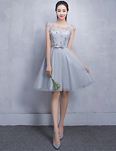 Short / Mini Tulle Bridesmaid Dress A-line Scoop with Lace