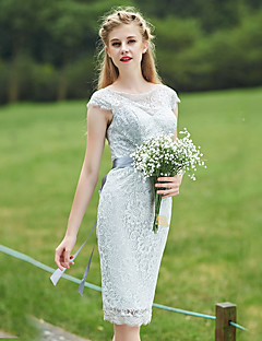 Knee-length Lace Bridesmaid Dress Sheath / Column Bateau with Sash / Ribbon