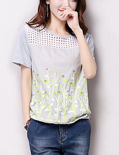 Tee-shirt Aux femmes,Fleur Décontracté / Quotidien simple / Mignon Eté Manches Courtes Col Arrondi Blanc / Gris Coton Fin