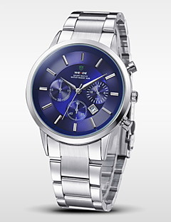 Herren Armbanduhr Japanischer Quartz Kalender / Wasserdicht Edelstahl Band Silber Marke- WEIDE