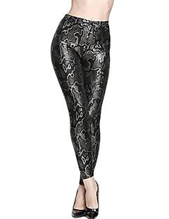 Ženy Jednobarevné Polyuretan Legging,Polyuretanová kůže Spandex Střední