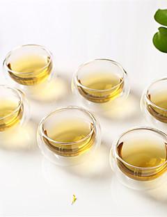 6-Pack hochtemperaturbeständigen Glas Doppelschicht-Glas Tee Tasse Kung-Fu-Tee Tee-Tasse Isolierung 50ml