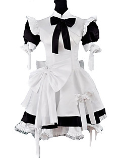 Korte mouw knie-lengte Black and White Satin Classic Lolita Maid Outfit met strik