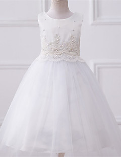 A-line Tea-length Flower Girl Dress-Lace / Satin / Tulle Sleeveless