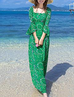 Mantel Klänning Enkel Strand Kvinnors,Tryck Fyrkantig hals Maxi Trekvartsärm Grön Polyester Sommar