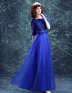 Formal Evening Dress A-line Jewel Floor-length Satin / Tulle with Appliques