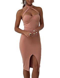 Sukienka Obuwie damskie Seksowna Bodycon Jendolity kolor Do kolan Halter Poliester / Spandeks