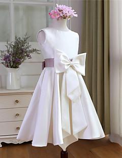 Trapèze Mi-long Robe de Demoiselle d'Honneur Fille - Satin Sans Manches Décolleté avec