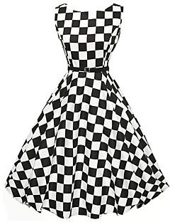 Women's Vintage Check A Line / Skater Dress,Round Neck Knee-length Polyester