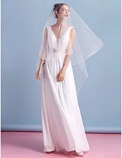 Lanting Bride® 시스 / 칼럼 웨딩 드레스 발목 길이 V-넥 쉬폰 와 레이스