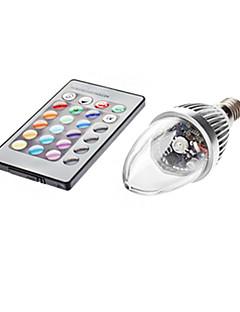 3W E14 LED-kynttilälamput C35 1 lm RGB Kauko-ohjattava AC 85-265 V