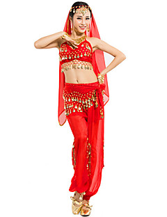 Belly Dance Outfits Women's Performance Chiffon Sequins 4 Pieces Sleeveless Dropped Top / Veil / Hip Scarf / Pants Top:30cm,Bottom:90cm