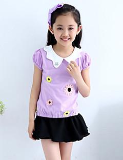 Girl's Cotton Summer Flower Adornment Doll Collar Short Sleeve Tee