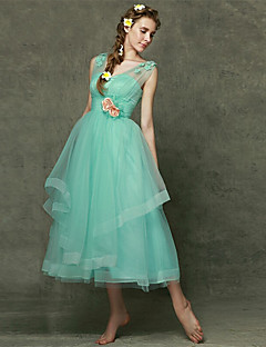 Bridesmaid Dress Tea-length Tulle - A-line Sweetheart with Flower(s)