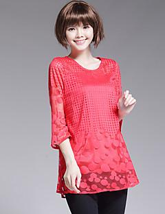 Mulheres Blusa Casual Plus Sizes / Moda de Rua Primavera,Poá Vermelho / Preto Algodão / Poliéster Decote Redondo Manga ¾ Fina