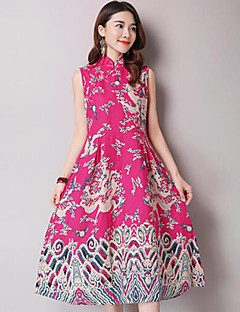 Mulheres Vestido Evasê Vintage Estampado Médio Colarinho Chinês Linho