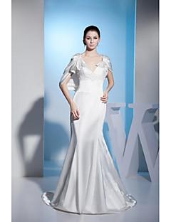 웨딩 드레스-트럼펫/머메이드 코트 트레인 V-넥 스트래치 새틴