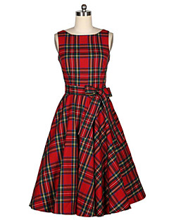 Women's Casual/Daily Vintage A Line Dress,Plaid Round Neck Midi Sleeveless Red Cotton Summer