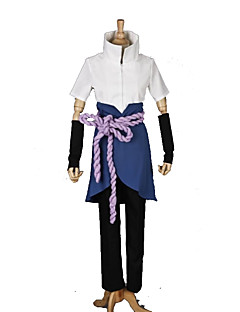 Inspireret af Naruto Sasuke Uchiha Anime Cosplay Kostumer Cosplay Suits Patchwork Hvid / Lilla Kort ÆrmeTop / Bukser / Armbind / Forklæde