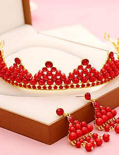 Dame Legering / Imiteret Perle Medaljon-Bryllup / Speciel Lejlighed Diademer 2 Dele