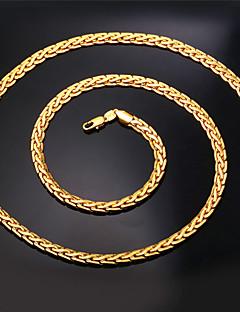 Naisten Kaulaketjut Statement kaulakorut Circle Shape Cross Shape Gold Plated Muoti pukukorut Korut Käyttötarkoitus Häät Party