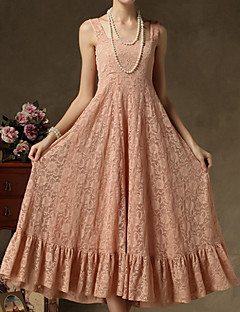 Women's Going out Street chic Swing Dress,Jacquard Strap Maxi Sleeveless Pink Polyester Summer