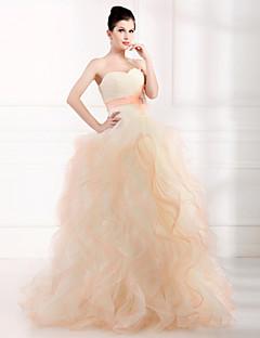 Evento Formal Vestido De Baile Tomara que Caia Longo Tule com Detalhes em Cristal
