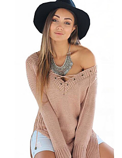 Women's Solid Cut Out Bandage Casual All Match Loose V Neck Pullover,Sexy / Simple Long Sleeve
