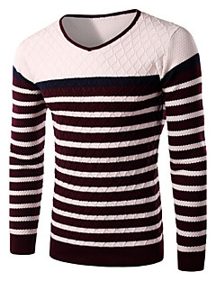 Men's Fashion Slim Striped Sweater,Cotton / Polyester Long Sleeve
