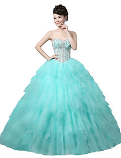 Formal Evening Dress-Sage Ball Gown Strapless Floor-length Tulle / Stretch Satin