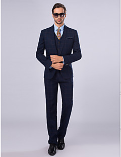 Suits Slim Xale Comum 1 Butão 3 Peças Azul Marinho Embutido Reto