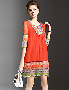 Women's Street chic Embroidered Loose / Shift Dress,Round Neck Above Knee Silk / Polyester