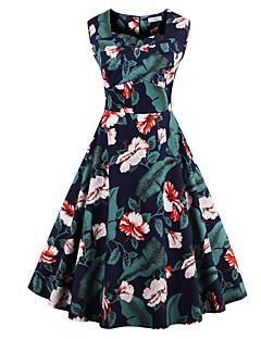 Mulheres Swing Vestido,Tamanhos Grandes Vintage Floral Decote Quadrado Altura dos Joelhos Sem Manga Azul / Vermelho / Branco / Preto